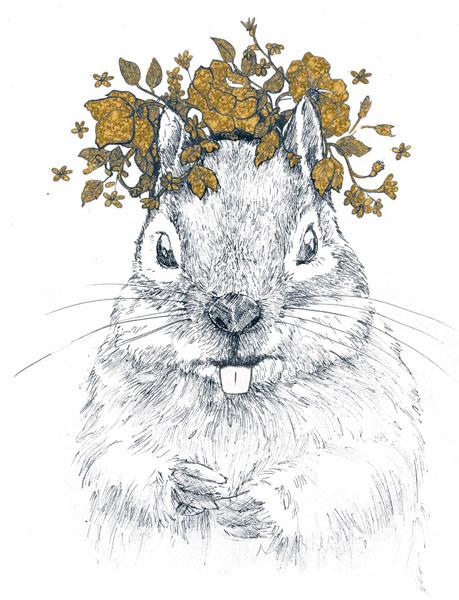Ilustración infantil. Ardilla con corona de hojas