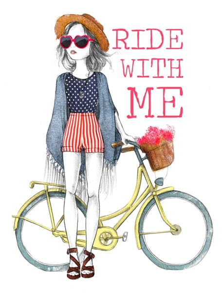 Ilustración infantil. Chica con gafas de sol y bici