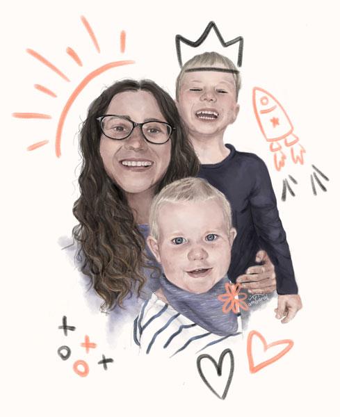 Retratos por encargo. Cuidadora y sus niños.