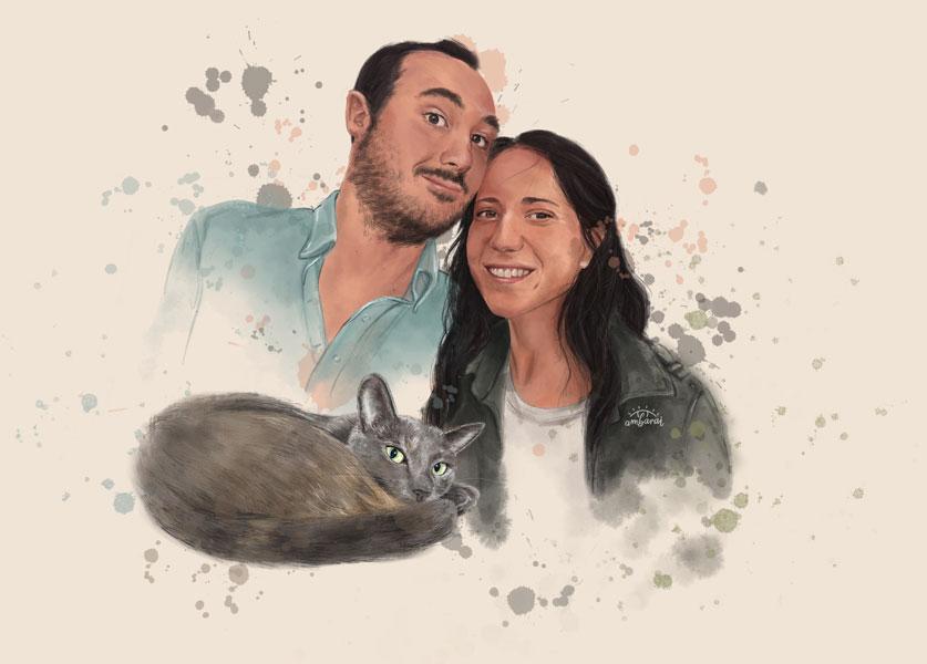 Retratos con mascotas. Regalo para pareja