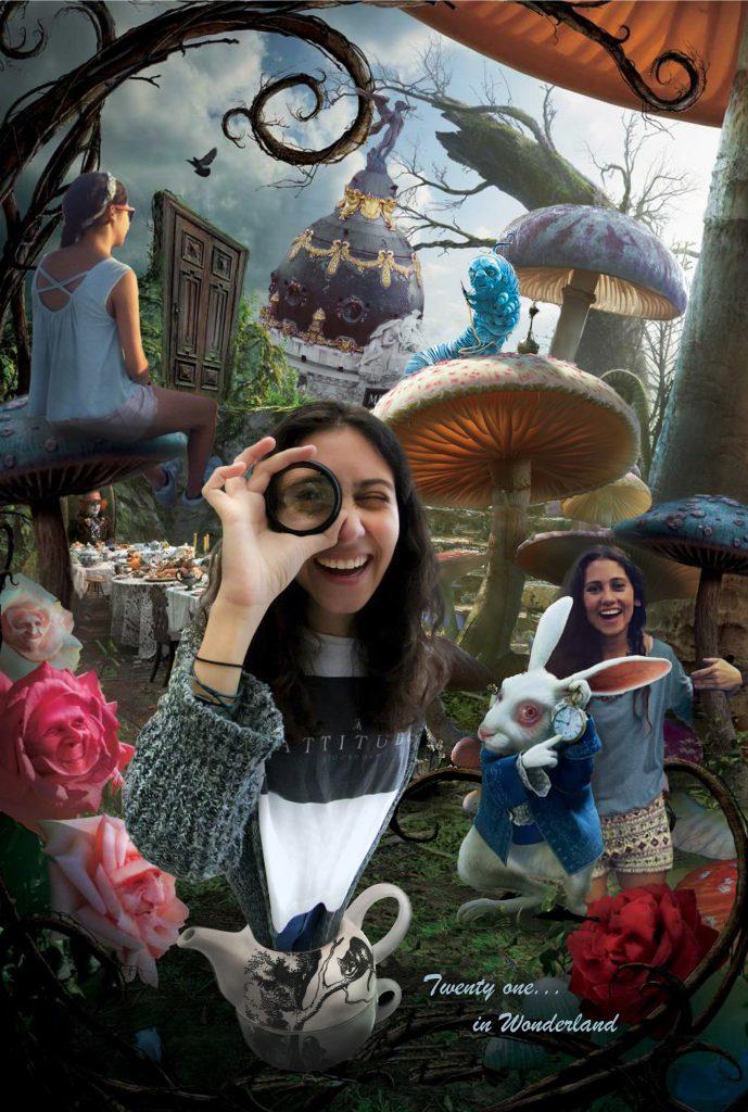 Fotomontajes. Composición fotográfica realizada con varias fotos del cliente y ambientada en Alicia y el País de las Maravillas