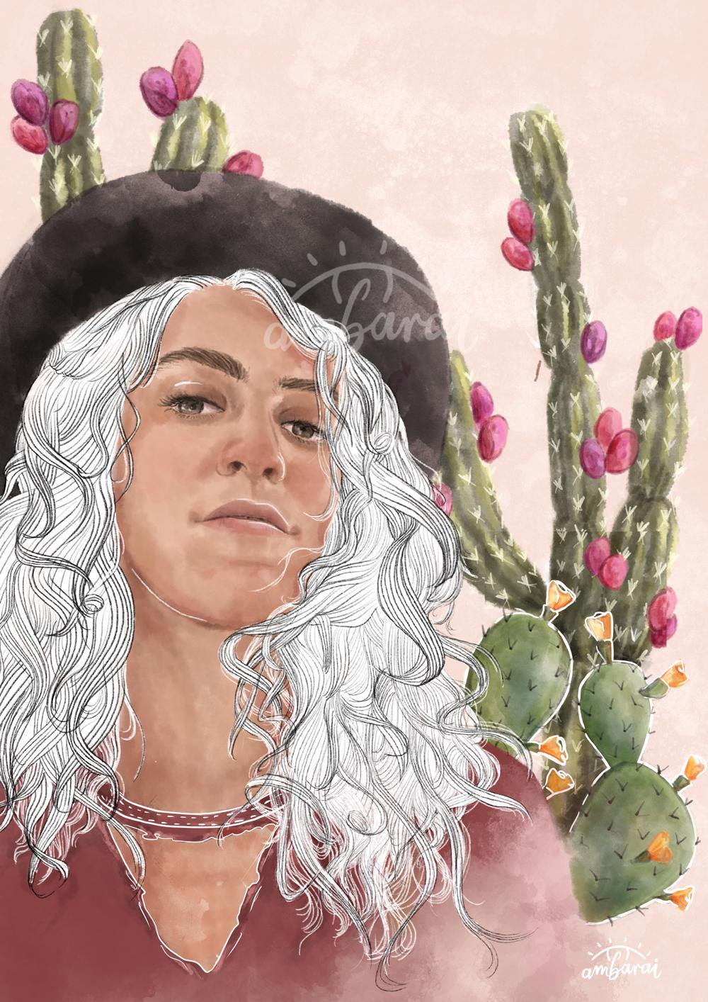 Ilustración. Chica con cactus de fondo.