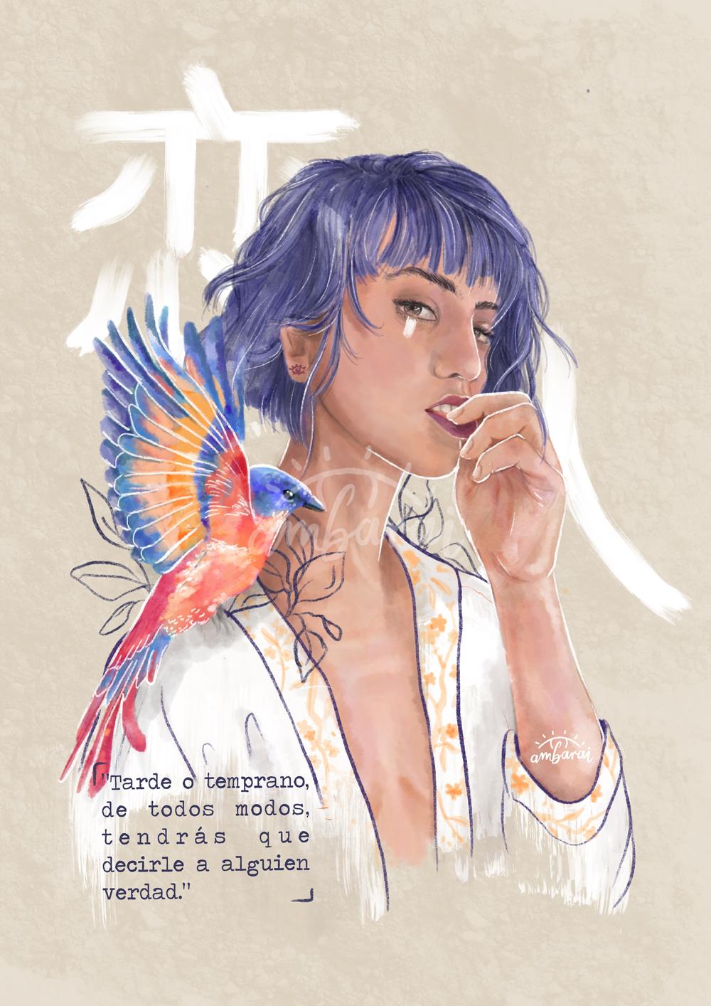 """Ilustración por encargo. Chica con pájaro y letras chinas. Inspirado en el libro """"Seda""""."""