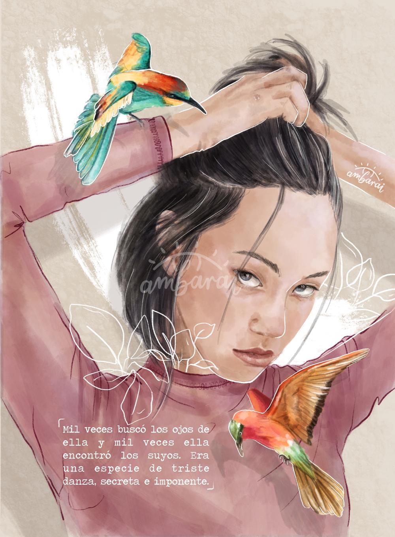 Ilustración por encargo. Chica mirando al espectador recogiéndose el pelo. Inspirado en el libro Seda.