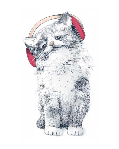 Ilustración infantil. Gato con cascos de música