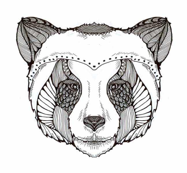 Ilustración infantil. Panda en blanco y negro