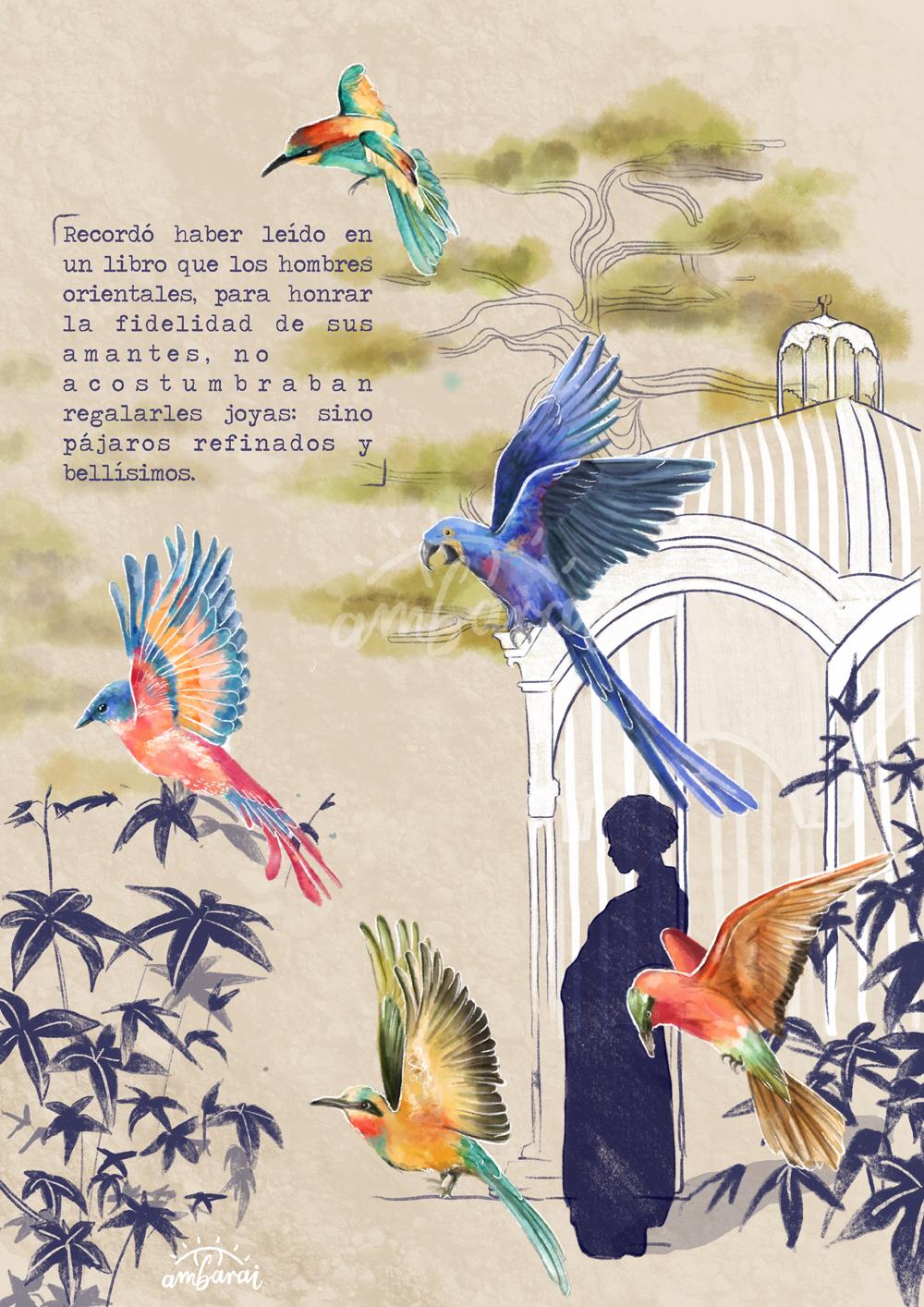 Ilustración por encargo. Pájaros saliendo de una jaula. Inspirado en el libro Seda.