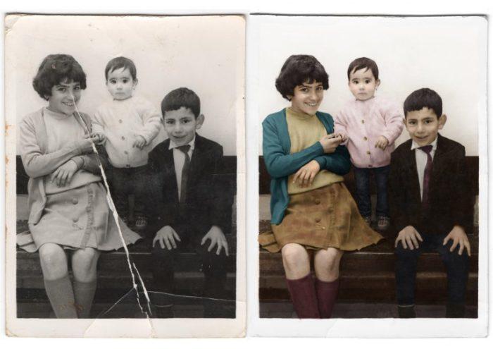 Restauración de fotos antiguas dañadas. Foto de hermanos en blanco y negro restaurada y a la que se le añadió color