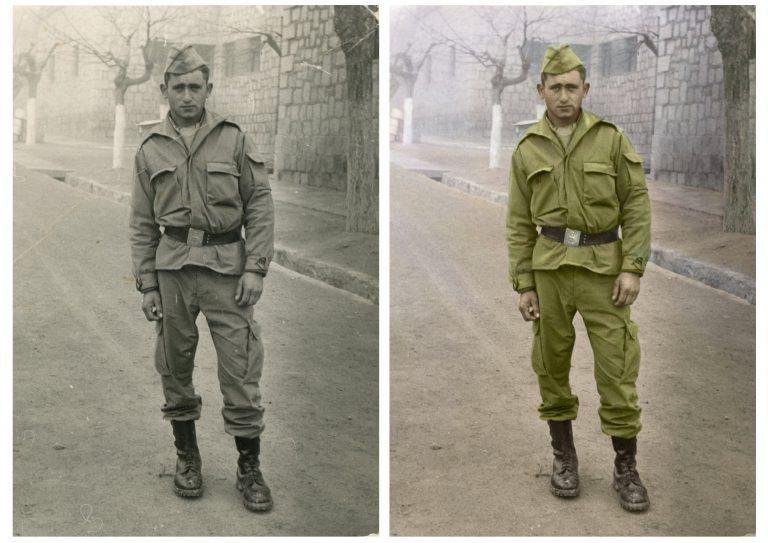 Restauración de fotos antiguas dañadas. Foto en blanco y negro de soldado restaurada y a la que se le añadió color
