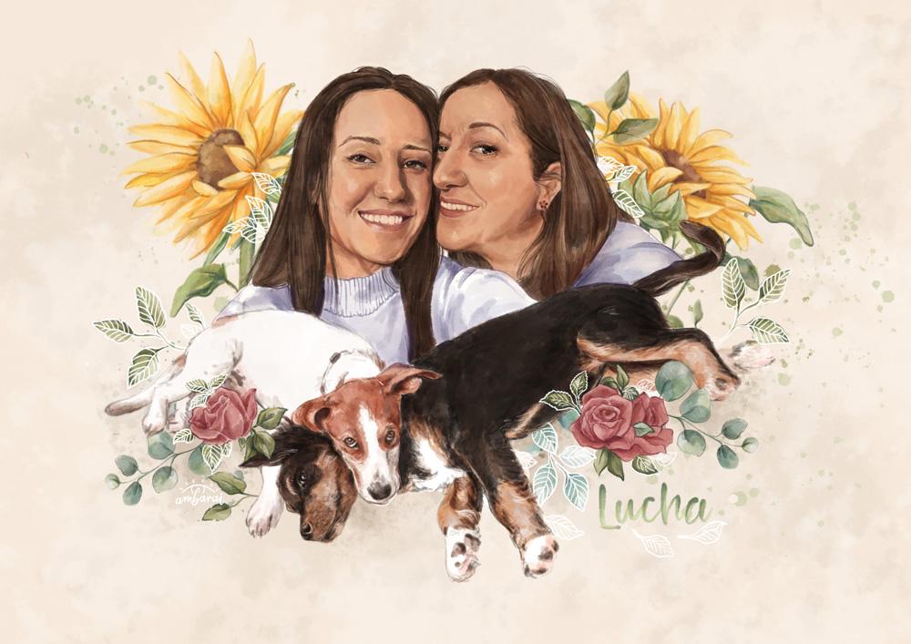 Retratos con mascotas. Retrato de madre e hija con sus perros