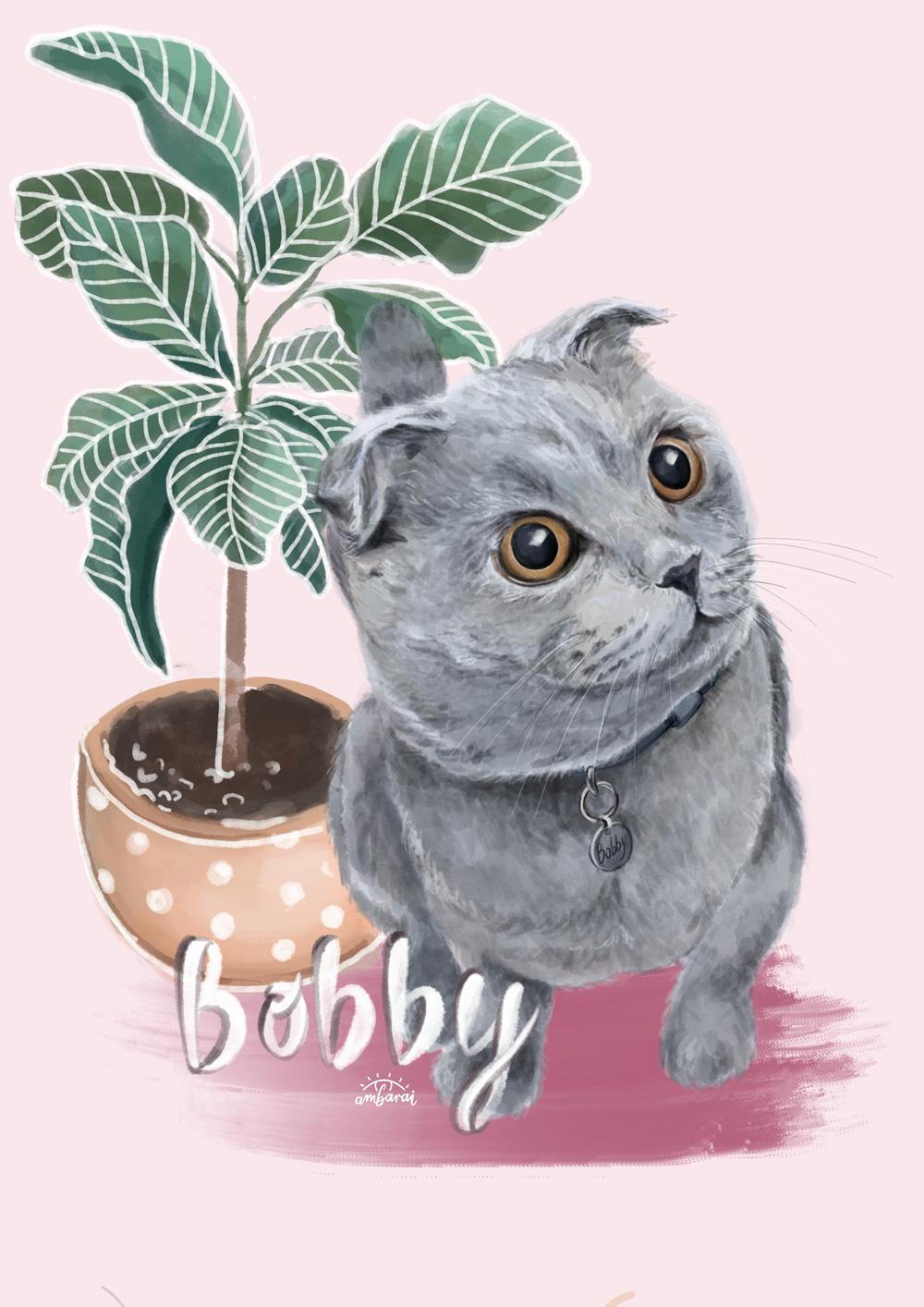 Retratos de mascotas. Retrato del gato Bobby