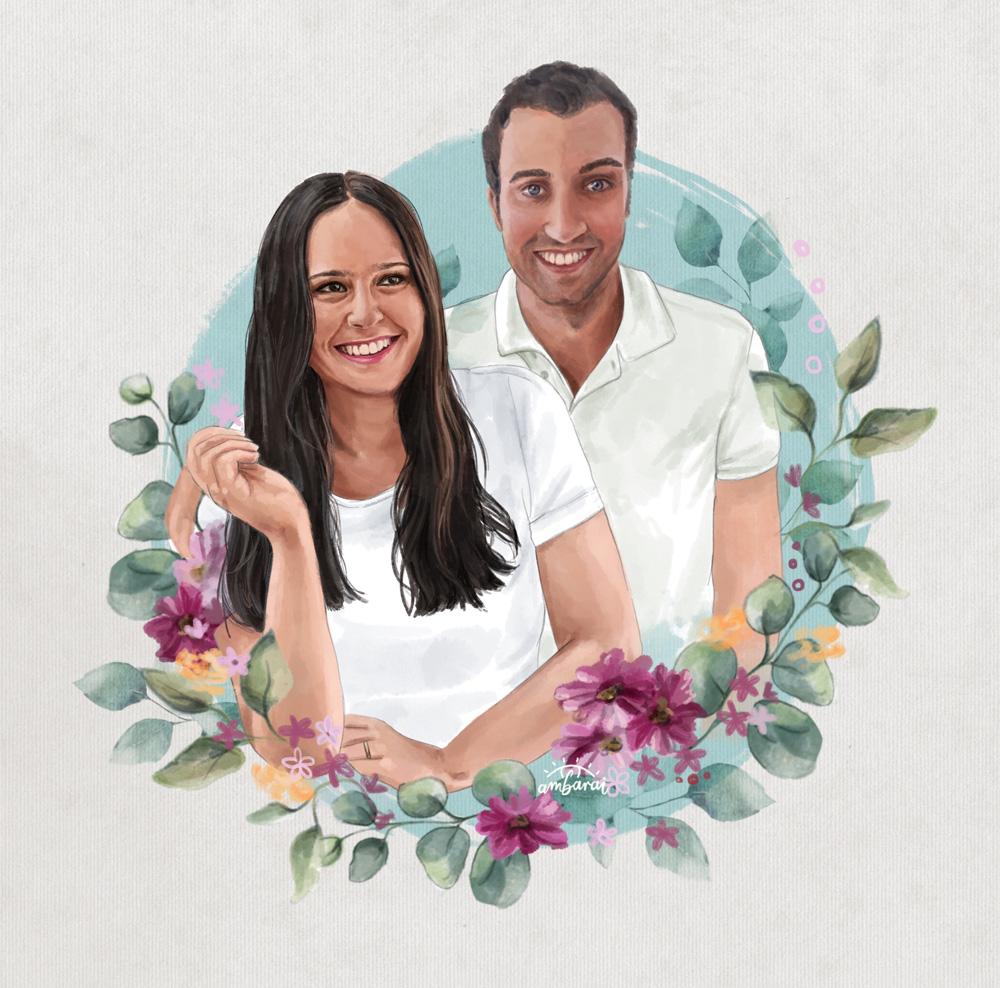 Retratos de parejas por encargo. Retrato de pareja con motivos florales