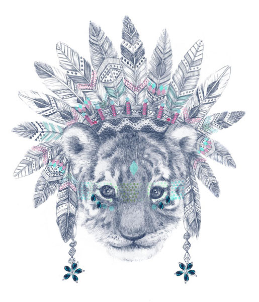 Retratos e ilustraciones por encargo. Ilustración infantil de león con plumas