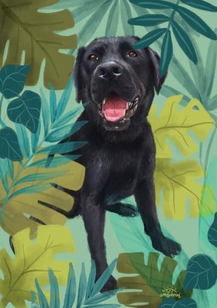 Retratos e ilustraciones por encargo. Retrato de mascota Bimba
