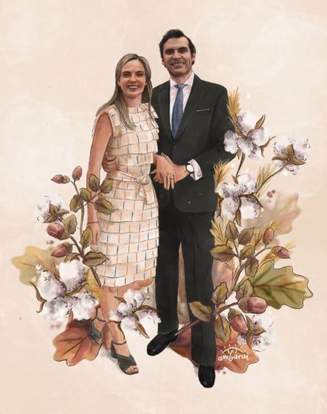 Retratos de parejas por encargo. Retrato de novios para regalo de boda