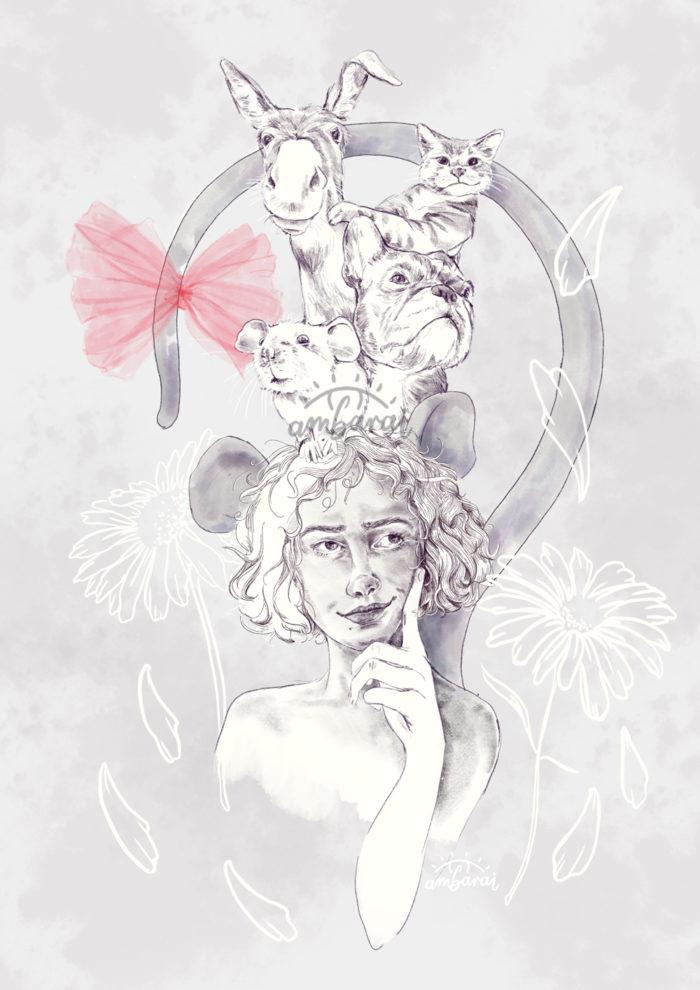 Ilustración para libros. Ilustración cuento ratita presumida