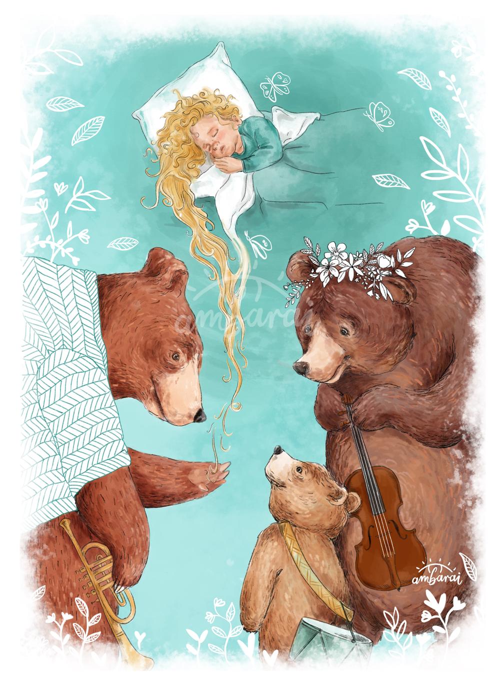 Ilustración para libros. Ilustración cuento ricitos de oro y los tres osos