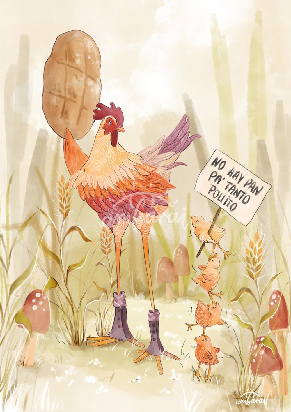 Ilustración para libros. Ilustración para el cuento de la gallina Marcelina