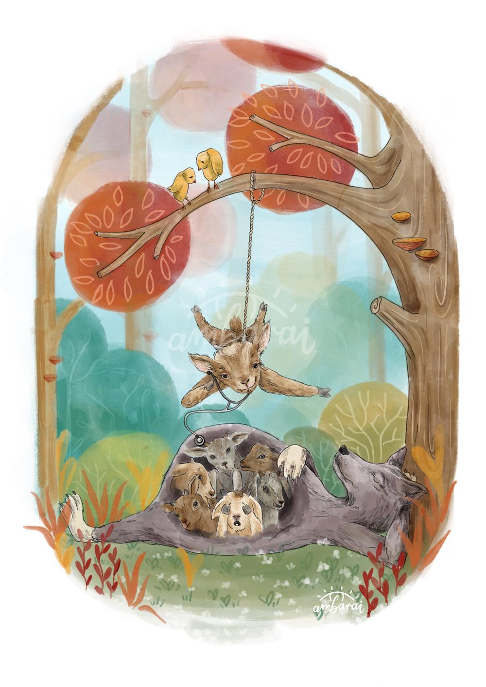 Ilustración para libros. Ilustración para el cuento de los cabritillos y el lobo