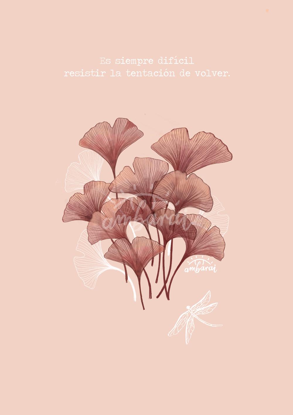 """Láminas. Lámina con hojas de ginkgo biloba, inspirado en el libro de la """"Seda"""""""