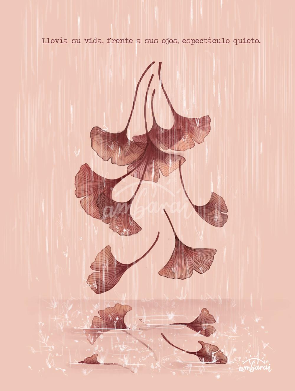 """Láminas. Lámina con hojas de ginkgo biloba bajo la lluvia, inspirado en el libro de la """"Seda"""""""